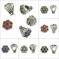 Бусины Европейская стиль из горного хрусталя, цинковый сплав, Букет, плакированный цветом под старое серебро, без Тролль & со стразами & крупное отверстие, Много цветов для выбора, не содержит свинец и кадмий, 11x14x11mm, отверстие:Приблизительно 6,7mm, 50ПК/сумка, продается сумка