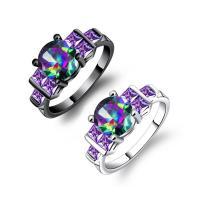 Кольца с кристаллами, цинковый сплав, с Кристаллы, Другое покрытие, разный размер для выбора & Женский & граненый, Много цветов для выбора, 14mm, продается PC