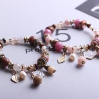 Мода себе браслет, цинковый сплав, с ABS пластик жемчужина & окрашенная Jade & Кристаллы, плакированный цветом под старое золото, браслет-оберег & Женский & эмаль & граненый, Много цветов для выбора, не содержит свинец и кадмий, 4-8mm, Продан через Приблизительно 7 дюймовый Strand