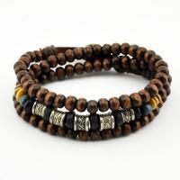 Дерево ожерелье, деревянный, с цинковый сплав, крашеный & Мужская & также могут быть подключены как браслет & регулируемый, 6mm, Продан через Приблизительно 22 дюймовый Strand