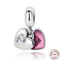 Серебро 925 пробы Подвеска-Европейская стиль, Сердце, слово мне, инкрустированное микро кубического циркония & Эпоксидная стикер & без Тролль, 12x23mm, отверстие:Приблизительно 4.5-5mm, продается PC