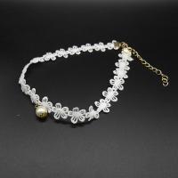 Готический ожерелье, Кружево, с Стеклянный жемчуг & цинковый сплав, с 7cm наполнитель цепи, плакирован золотом, Женский, белый, 30cm, Продан через Приблизительно 13 дюймовый Strand
