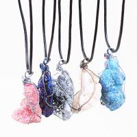 Ожерелье из агата, Ледниковый кварц-агат, с кожаный шнур & Латунь, с 5cm наполнитель цепи, druzy стиль & Женский, разноцветный, 30mm-40mm, длина:Приблизительно 27.5 дюймовый, 5пряди/сумка, продается сумка