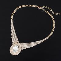 Кристалл ожерелье с цинковым сплавом, цинковый сплав, с Кристаллы, с 5cm наполнитель цепи, плакирован золотом, Женский & со стразами, не содержит свинец и кадмий, 38mm, Продан через Приблизительно 15 дюймовый Strand