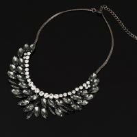 Ожерелья из стекла, цинковый сплав, с железный цепи & Стеклянный, с 5cm наполнитель цепи, черный свнец, твист овал & Женский, не содержит свинец и кадмий, 50mm, Продан через Приблизительно 14.5 дюймовый Strand