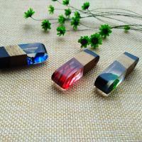 Подвески из смолы, канифоль, с деревянный, Мужская, 45x12x12mm, отверстие:Приблизительно 2-4mm, продается PC
