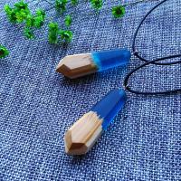 Подвески из смолы, канифоль, с деревянный, Мужская, голубой, 55mm, отверстие:Приблизительно 2-4mm, продается PC