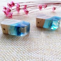 Подвески из смолы, канифоль, с деревянный, Мужская, голубой, 30x13x13mm, отверстие:Приблизительно 2-4mm, продается PC
