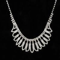 Модные ожерелья, цинковый сплав, с 5cm наполнитель цепи, Платиновое покрытие платиновым цвет, Женский & со стразами, не содержит свинец и кадмий, 36mm, Продан через Приблизительно 12.5 дюймовый Strand