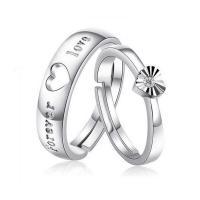 Пара кольца перста, Серебро 925 пробы, слово навсегда любовь, покрытый платиной, открыть & регулируемый & с кубическим цирконием, размер:6-10, продается Пара