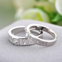 Пара кольца перста, Серебро 925 пробы, слова любви, покрытый платиной, открыть & регулируемый & инкрустированное микро кубического циркония, размер:6-10, продается Пара