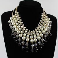Ожерелья из стекла, Стеклянный жемчуг, с Кристаллы & цинковый сплав, с 3Inch наполнитель цепи, плакирован золотом, твист овал & Женский, не содержит никель, свинец, Продан через Приблизительно 16.5 дюймовый Strand
