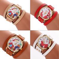 Искусственная кожа браслет для часов, с Стеклянный & цинковый сплав, плакирован золотом, Мужская & Рождественские украшения & регулируемый & различные модели для выбора, не содержит никель, свинец, 37x7mm, длина:Приблизительно 15.7 дюймовый, продается PC