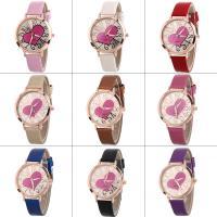 Искусственная кожа браслет для часов, с Стеклянный & цинковый сплав, плакированный цветом розового золота, Мужская & регулируемый, Много цветов для выбора, не содержит никель, свинец, 37x7mm, длина:Приблизительно 9.4 дюймовый, продается PC