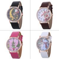 Искусственная кожа браслет для часов, с Стеклянный & цинковый сплав, плакированный цветом розового золота, Мужская & Рождественские украшения & регулируемый & различные модели для выбора, не содержит никель, свинец, 40x6mm, длина:Приблизительно 9.4 дюймовый, продается PC