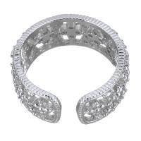 Кубический циркон микро проложить кольцо-латунь, Латунь, покрытый платиной, разный размер для выбора & инкрустированное микро кубического циркония & Женский & отверстие, 8.50mm, размер:7, продается PC