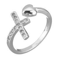 Латунь Манжеты палец кольцо, покрытый платиной, разный размер для выбора & Женский & с кубическим цирконием, 13mm, размер:8, продается PC