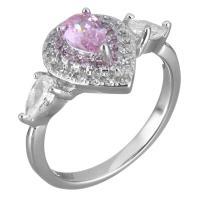 Кубический циркон микро проложить кольцо-латунь, Латунь, Каплевидная форма, покрытый платиной, разный размер для выбора & Женский & с кубическим цирконием, 12mm, продается PC