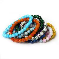 Стеклянный браслет, Эластичное & Женский, Много цветов для выбора, 8mm, Продан через Приблизительно 7.5 дюймовый Strand