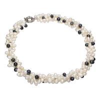Природное пресноводное жемчужное ожерелье, Пресноводные жемчуги, латунь Замочек-колечко, Рисообразная, Женский, белый и черный, 7-8mm, длина:Приблизительно 16.5 дюймовый, 3пряди/Лот, продается Лот