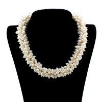 Природное пресноводное жемчужное ожерелье, Пресноводные жемчуги, с цинковый сплав, Рисообразная, натуральный, Женский, белый, 6-7mm, Продан через Приблизительно 18.5 дюймовый Strand