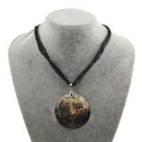 Черная ракушка Ожерелье, с Вощеная Конопля шнура & Сатиновая лента, с 5cm наполнитель цепи, Плоская круглая форма, Женский, 54x2mm, Продан через Приблизительно 16.5 дюймовый Strand