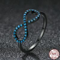 Cеребряное кольцо, Серебро 925 пробы, Бесконечные, черный свнец, разный размер для выбора & Женский & с кубическим цирконием, 7x16mm, продается PC
