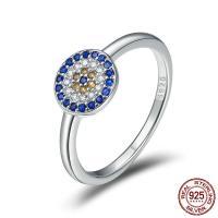 Cеребряное кольцо, Серебро 925 пробы, покрытый платиной, разный размер для выбора & Женский & с кубическим цирконием, 8x8mm, продается PC