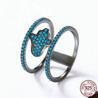 Cеребряное кольцо, Серебро 925 пробы, черный свнец, разный размер для выбора & Женский & с кубическим цирконием, 11mm, продается PC