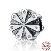 Таиланд бусины Европейская стиль, Форма цветка, без Тролль & с кубическим цирконием, 11x11mm, отверстие:Приблизительно 4.5-5mm, продается PC