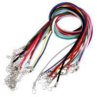 шерстяной шнур Шнурок для ожерелий, железо Замок-карабин, с 1.5Inch наполнитель цепи, плакирован серебром, Мужская, Много цветов для выбора, 2mm, длина:Приблизительно 19 дюймовый, 10пряди/Лот, продается Лот