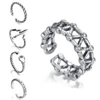 Кольца из латуни, Латунь, плакированный цветом под старое серебро, с 925 логотипом & Мужская & регулируемый & разные стили для выбора, не содержит никель, свинец, 3-5mm, размер:6-9, продается PC