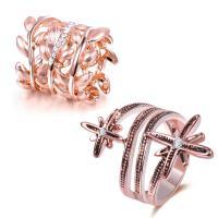 Модные кольца, цинковый сплав, плакированный цветом розового золота, разный размер для выбора & разные стили для выбора & Женский & со стразами, не содержит свинец и кадмий, продается PC