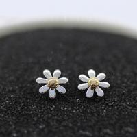 Серьги из серебра, Серебро 925 пробы, Форма цветка, покрытый платиной, разные стили для выбора & Женский & двухцветный, продается Пара