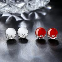 Серьги из серебра, Серебро 925 пробы, Плоская круглая форма, различные материалы для выбора & Женский, 10x11mm, продается Пара