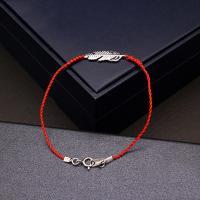 Нейлоновый шнуровой браслет, Серебро 925 пробы, с Нейлоновый шнурок, Листок, покрытый платиной, Женский, 7x16mm, Продан через Приблизительно 6.3 дюймовый Strand