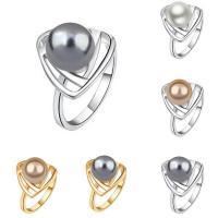 Модные кольца, цинковый сплав, с ABS пластик жемчужина, Круглая, Другое покрытие, Женский, Много цветов для выбора, не содержит свинец и кадмий, 15x15mm, размер:6-9, продается PC