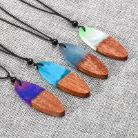 Дерево ожерелье, деревянный, с Нейлоновый шнурок & канифоль, Мужская, Много цветов для выбора, 5.8x2.0x0.8cm, Продан через Приблизительно 25 дюймовый Strand