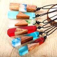 Дерево ожерелье, деревянный, с Нейлоновый шнурок & канифоль, Мужская, Много цветов для выбора, 6x1.4x1cm, Продан через Приблизительно 25 дюймовый Strand