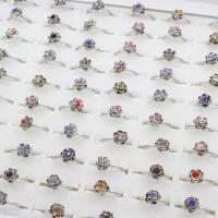 Модные кольца, цинковый сплав, Форма цветка, плакированный цветом под старое серебро, Мужская & регулируемый & со стразами, не содержит свинец и кадмий, 19x23x9mm, размер:6-9, 100ПК/Box, продается Box