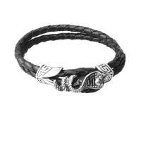 Браслет воловьей кожи, нержавеющая сталь, с Шнур из натуральной кожи, Змея, Мужская & двунитевая & чернеют, черный, 6mm, Продан через Приблизительно 9 дюймовый Strand