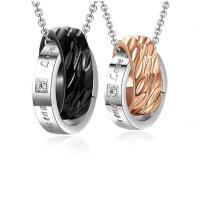 Ожерелье-пара, нержавеющая сталь, Другое покрытие, Мужская & Овальный цепь & разные стили для выбора & с письмо узором & со стразами, продается Strand