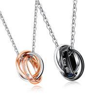 титан Ожерелье, Другое покрытие, Мужская & Овальный цепь & разные стили для выбора & для пара & с кубическим цирконием, продается Strand
