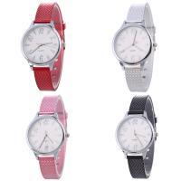 Искусственная кожа браслет для часов, с Стеклянный & цинковый сплав, Часы, Платиновое покрытие платиновым цвет, Мужская & регулируемый, Много цветов для выбора, не содержит никель, свинец, 33x7mm, длина:Приблизительно 9.2 дюймовый, продается PC