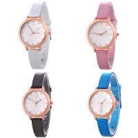 Искусственная кожа браслет для часов, с Стеклянный & цинковый сплав, Часы, плакированный цветом розового золота, Мужская & регулируемый & со стразами, Много цветов для выбора, не содержит никель, свинец, 35x7mm, длина:Приблизительно 9.2 дюймовый, продается PC