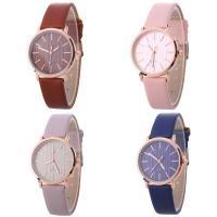 Искусственная кожа браслет для часов, с Стеклянный & цинковый сплав, Часы, плакированный цветом розового золота, Мужская & регулируемый, Много цветов для выбора, не содержит никель, свинец, 33x7mm, длина:Приблизительно 9 дюймовый, продается PC
