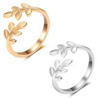 Модные кольца, цинковый сплав, Листок, Другое покрытие, открыть & Женский, Много цветов для выбора, не содержит свинец и кадмий, 15mm, размер:5.5, продается PC