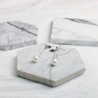 Сережки из ракушек с Южного моря, Серебро 925 пробы, Звезда, покрытый платиной, гипо аллергических & Женский, 10x8mm, 6x3mm, 30mm, продается Пара