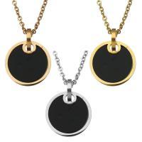 Ожерелья из полимерной смолы, нержавеющая сталь, с канифоль, Плоская круглая форма, Другое покрытие, Овальный цепь & Женский, Много цветов для выбора, 15mm, 1.5mm, Продан через Приблизительно 17 дюймовый Strand