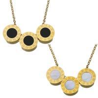 Ожерелье из ракушки, нержавеющая сталь, Плоская круглая форма, плакирован золотом, с римская цифра & различные материалы для выбора & Овальный цепь & Женский, 11mm, 1.5mm, Продан через Приблизительно 17 дюймовый Strand